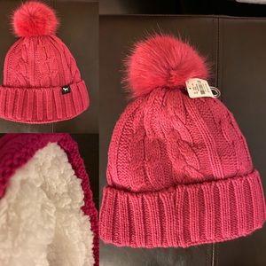New Victoria's Secret pink Sherpa beanie Pom Pom